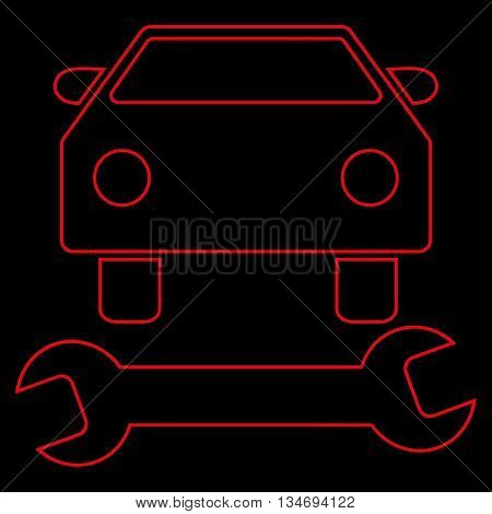 Car Repair glyph icon. Style is outline flat icon symbol, red color, black background.