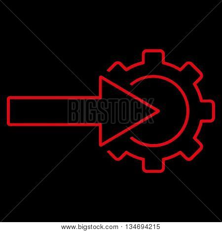 Cog Integration glyph icon. Style is outline flat icon symbol, red color, black background.