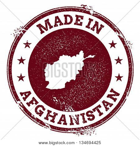 Afghanistan Vector Seal. Vintage Country Map Stamp. Grunge Rubber Stamp With Made In Afghanistan Tex