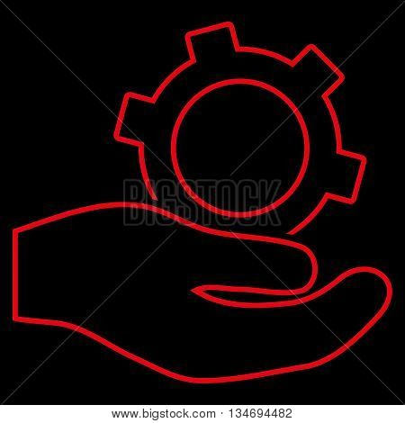 Engineering Service glyph icon. Style is contour flat icon symbol, red color, black background.
