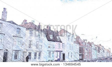Beach Street, Deal, Kent, England, Colour line drawing effect,