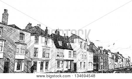 Beach Street, Deal, Kent, England. Black and white, line drawing effect.