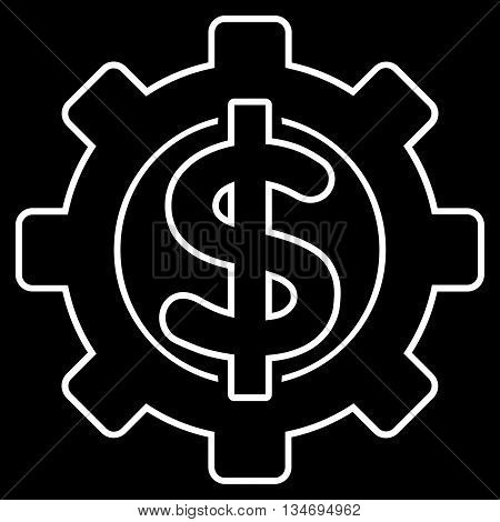 Financial Options glyph icon. Style is linear flat icon symbol, white color, black background.