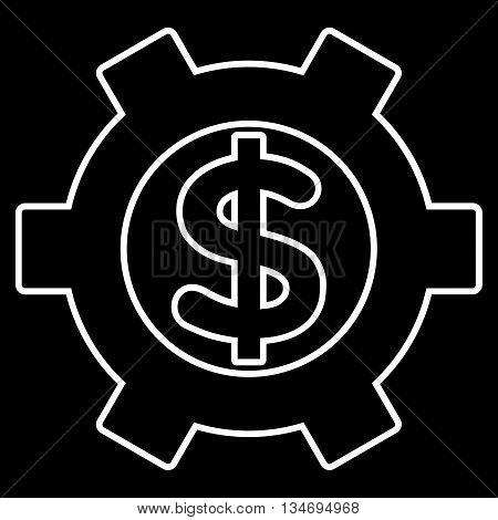 Financial Settings glyph icon. Style is contour flat icon symbol, white color, black background.