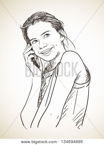 Sketch of teenager girl talking mobile phone, Hand drawn vector illustration