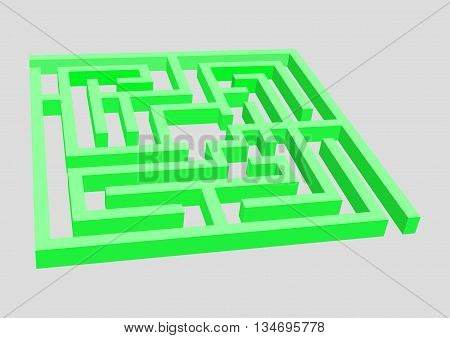 A complex maze surround in green. Vector illustration