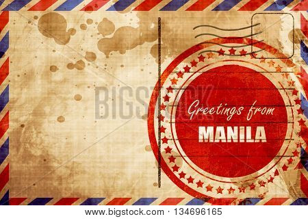 Greetings from manila, red grunge stamp on an airmail background