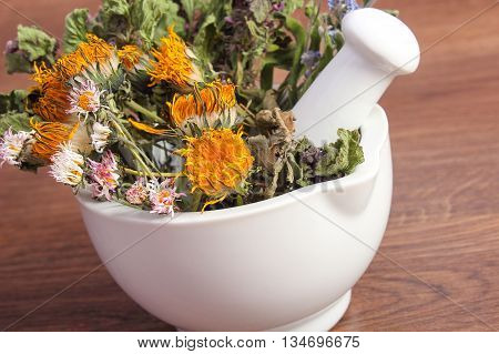 Dried Herbs And Flowers In White Mortar, Herbalism, Decoration