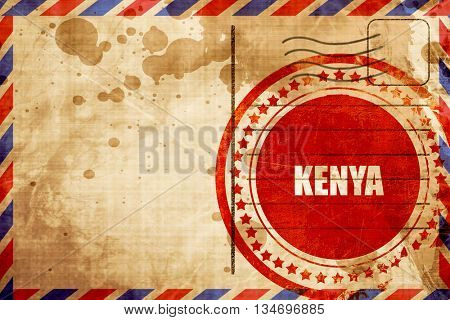 Greetings from kenya, red grunge stamp on an airmail background