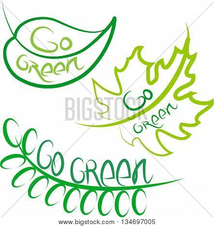 Go Green. Set of foliage, green symbols for ecology design.