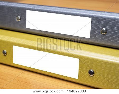 Close up business folder file on wood table (Selective focus)
