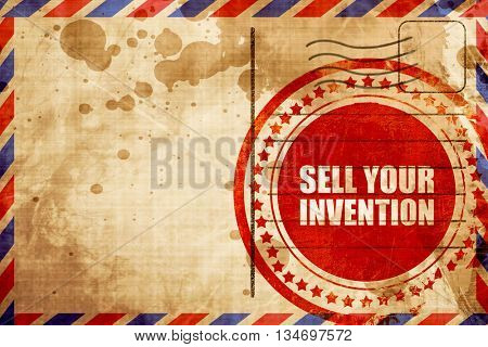 sell your invention, red grunge stamp on an airmail background