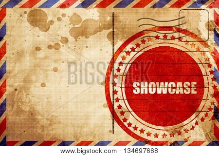 showcase, red grunge stamp on an airmail background