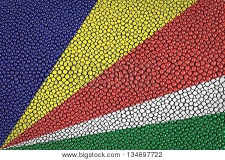 Seychelles Flag on stingray skin texture background