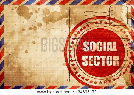 social sector, red grunge stamp on an airmail background