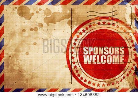 sponsors welcome, red grunge stamp on an airmail background