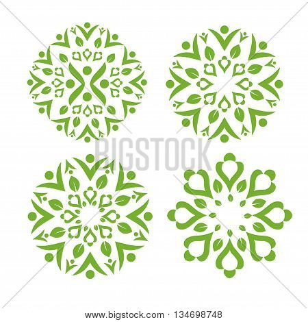 Green leaf decorating with healthy swash symbol