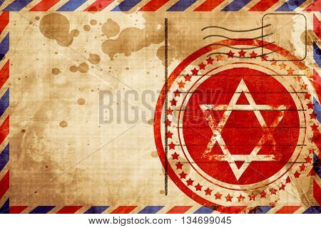 Star of david, red grunge stamp on an airmail background