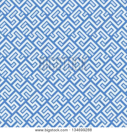 Seamless geometric pattern by stripes. Modern vector background with repeating lines. Seamless geometric background with blue and white elements
