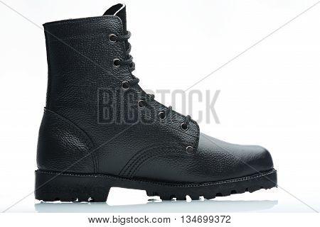 Black Crocodile Leather Boot