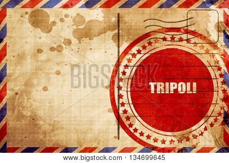 tripoli, red grunge stamp on an airmail background