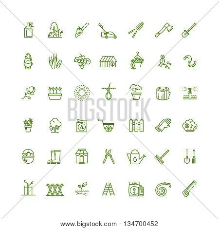 Sprouting seeds and home gardening thin outline vector icons. Plant and gardening, tool rake or spade for gardening illustration