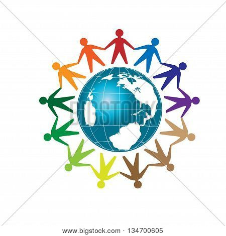 People unity, Colorful people around earth globe