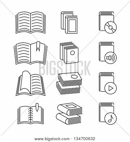 Book line thin vector icons set. Education media book and innovation book information illustration