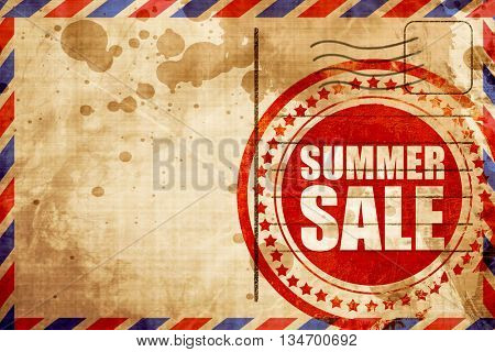 summer sale, red grunge stamp on an airmail background
