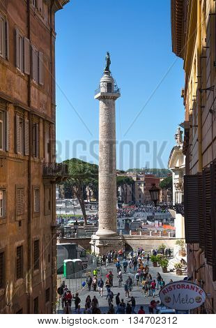 ROME, ITALY - APRIL 8, 2016: Column of Emperor Trajan Forum 106 - 112 AD AD, measuring 300 metres (980 feet) long and 185 metres (607 feet) wide