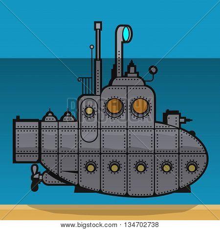 Submarine underwater abstract color cartoon, vector illustration.