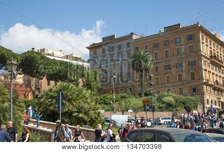 ROME, ITALY - APRIL 8, 2016: Rome's street with lots of people after sport event