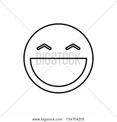 Laughing emoticon with open mouth and smiling eyes icon in outline style
