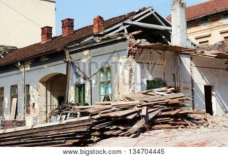 Urban demolition site