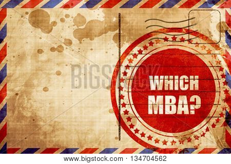 which mba, red grunge stamp on an airmail background