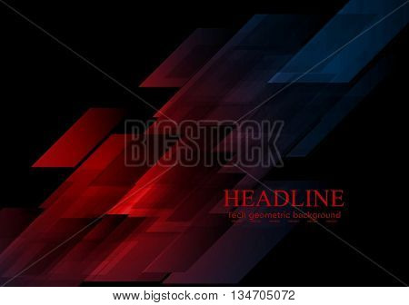 Dark blue red shapes abstract tech background. Vector graphic geometric design