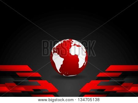 Red black tech contrast background with earth globe. Vector technology corporate design