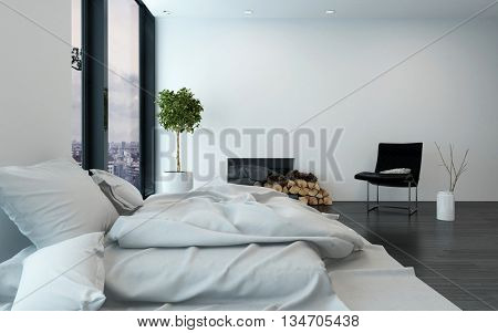 Contemporary apartment with simple furnishings and bare walls beside a fireplace and floor to ceiling window. 3d Rendering.