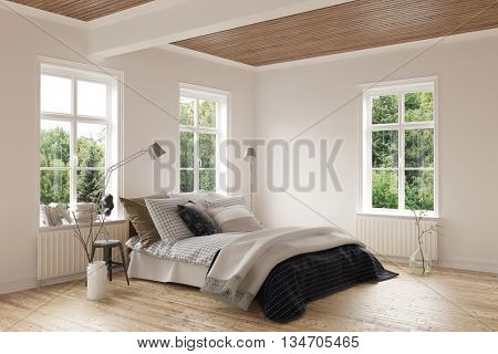 Bright modern bedroom interior with hardwood floor and ceiling and windows on both walls around a comfortable double bed with cushions. 3d Rendering.