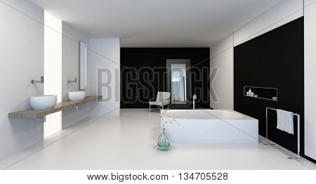 Large spacious black and white bathroom interior with modern fittings and a dual vanity. 3d Rendering.