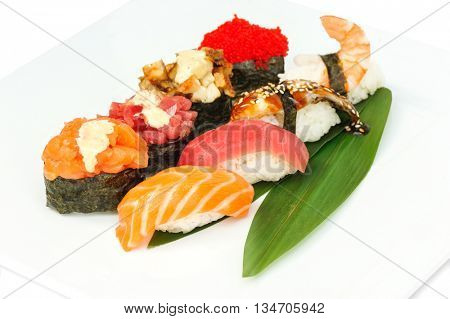 Sushi set assorrted rolls on solated on white background