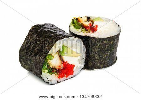 Uramaki maki sushi, two rolls isolated on white. Philadelphia cheese, nori, eel, seaweed, chuka, avocado and tobico