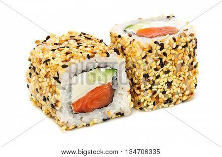Uramaki maki sushi, two rolls isolated on white. Philadelphia cheese, tuna, cucumber and sesame
