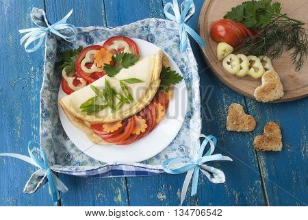 omelette with fresh vegetables, tasty and healthy breakfast