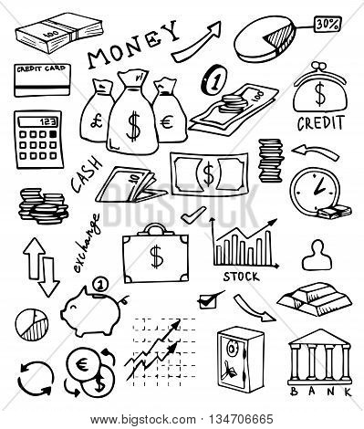 banking and currency hand drawn icons vector set