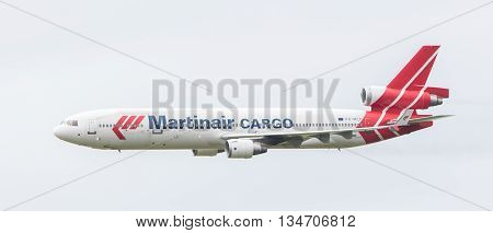 Leeuwarden, The Netherlands - June 11, 2016: Ph-mcu Martinair Holland Mcdonnell Douglas Md-11 During