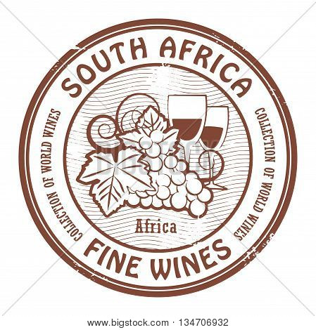 Grunge rubber stamp with words South Africa Fine Wines, vector illustration