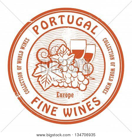 Grunge rubber stamp with words Portugal Fine Wines, vector illustration