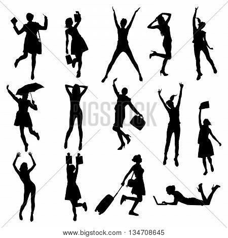 Vecttor happy girls silhouette isolated on white background.