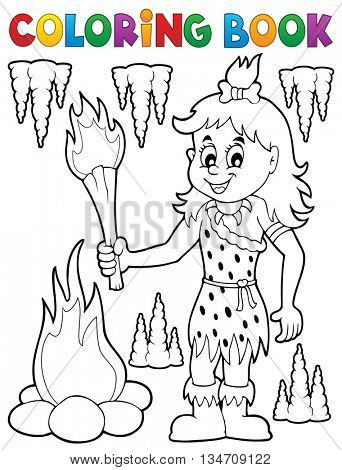 Coloring book cave woman theme 1 - eps10 vector illustration.